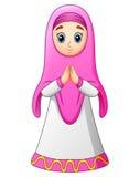 Salutation musulmane de bande dessinée de femmes illustration de vecteur