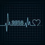 salutation 2018 pour la célébration de nouvelle année avec la conception de battement de coeur Photographie stock