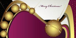 Salutation profonde de Noël avec des globes Image stock