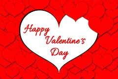 Salutation romantique de jour du ` s de Valentine en rouge Photographie stock libre de droits