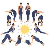 Salutation to the sun is a form of worship in Hinduism. Exercise or properly posture flat. In minimalist style. Cartoon. Vector Illustration vector illustration