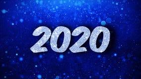 Salutations bleues de particules de souhaits des textes de 2020 bonnes ann?es, invitation, fond de c?l?bration illustration stock