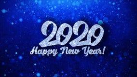 Salutations bleues de particules de souhaits des textes de 2020 bonnes ann?es, invitation, fond de c?l?bration illustration libre de droits