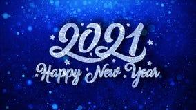 salutations bleues de particules de souhaits des textes de 2021 bonnes ann?es, invitation, fond de c?l?bration illustration stock