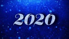 2020 salutations bleues de particules de souhaits des textes, invitation, fond de c?l?bration illustration libre de droits