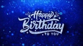 Salutations bleues de particules de souhaits des textes de joyeux anniversaire, invitation, fond de célébration illustration stock
