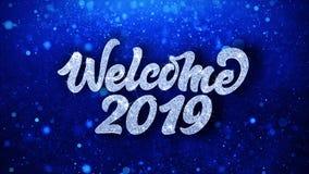 Salutations bleues de particules de souhaits des textes de l'accueil 2019, invitation, fond de c?l?bration illustration stock