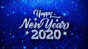Salutations bleues de particules de souhaits des textes de la bonne ann?e 2020, invitation, fond de c?l?bration illustration libre de droits