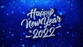 Salutations bleues de particules de souhaits des textes de la bonne ann?e 2022, invitation, fond de c?l?bration illustration stock