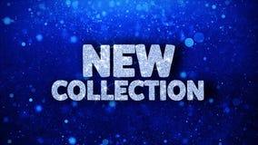 Salutations bleues de particules de souhaits des textes de nouvelle collection, invitation, fond de célébration illustration de vecteur