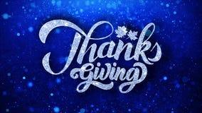 Salutations bleues de particules de souhaits des textes de thanksgiving, invitation, fond de célébration illustration stock