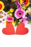 Salutations d'amour avec des coeurs Images libres de droits