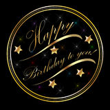 Salutations de carte d'or de joyeux anniversaire Photos stock
