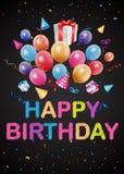 Salutations de joyeux anniversaire sur le tableau illustration stock