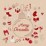 Salutations de Joyeux Noël dans la boule Photos libres de droits