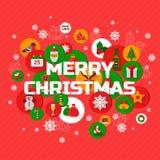 Salutations de Noël avec des icônes de vacances en cercles Images libres de droits