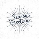 Salutations de Noël marquant avec des lettres, souhait de vacances, dire et label de vintage Photographie stock libre de droits