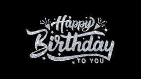 Salutations de particules de souhaits des textes de clignotement de joyeux anniversaire, invitation, fond de célébration illustration de vecteur