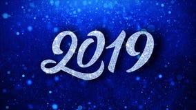 Salutations de particules de souhaits de la nouvelle année 2019, invitation, fond de célébration illustration stock