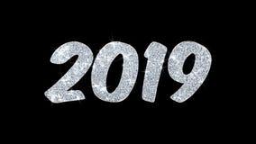 2019 salutations de particules de souhaits de nouvelle année, invitation, fond de célébration illustration de vecteur