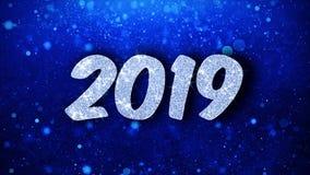 2019 salutations de particules de souhaits de nouvelle ann?e, invitation, fond de c?l?bration illustration libre de droits
