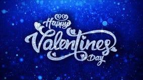 Salutations de particules de Valentine Day Blue Text Wishes, invitation, fond de c?l?bration illustration de vecteur