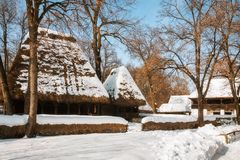 Salutations de saison d'un village roumain pittoresque Photographie stock libre de droits