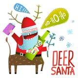 Salutations de vacances de célébration de monstre Santa Deer Christmas ou de nouvelle année Images stock