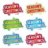 Salutations de vacances - les salutations de la saison ! - 6 variantes Photographie stock libre de droits
