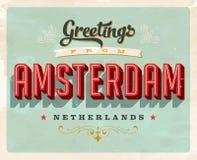 Salutations de vintage d'Amsterdam, carte de vacances néerlandaise illustration stock