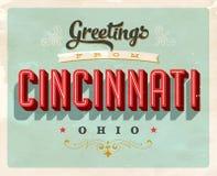 Salutations de vintage de carte de vacances de Cincinnati illustration stock