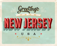 Salutations de vintage de carte de vacances de New Jersey Images libres de droits