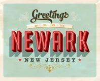 Salutations de vintage de carte de vacances de Newark Photos libres de droits