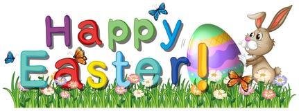 Salutations heureuses de Pâques dans le jardin Images libres de droits