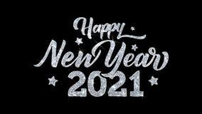 Salutations 2021, invitation, fond de particules de souhaits des textes de clignotement de bonne année de célébration illustration de vecteur