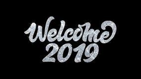 Salutations 2019, invitation, fond de particules de souhaits des textes de clignotement d'accueil de célébration illustration libre de droits