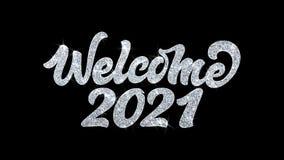 Salutations 2021, invitation, fond de particules de souhaits des textes de clignotement d'accueil de célébration illustration libre de droits