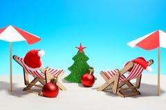 Salutations saisonnières de Noël d'une plage tropicale Photographie stock libre de droits