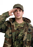 Salute. A soldier saluting Stock Photography