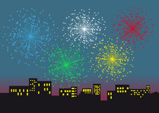 Salute. Five flashes of the fireworks on night city Stock Photos