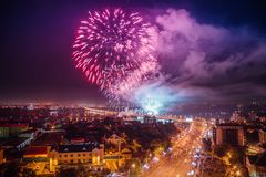Salute above Voronezh Stock Photography