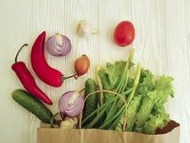Salute assortita della tavola del mercato della cipolla delle verdure organiche Immagine Stock Libera da Diritti
