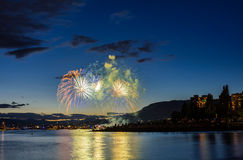 Salute, beautiful fireworks. Beautiful fireworks at English Bay Beach at night in Vancouver Canada Royalty Free Stock Photography