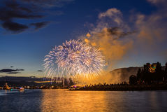 Salute, beautiful fireworks. Beautiful fireworks at English Bay Beach at night in Vancouver Canada Stock Photo
