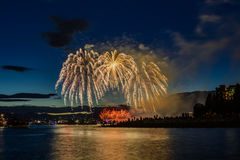 Salute, beautiful fireworks. Beautiful fireworks at English Bay Beach at night in Vancouver Canada Royalty Free Stock Photo