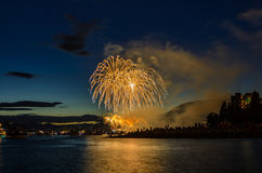 Salute, beautiful fireworks. Beautiful fireworks at English Bay Beach at night in Vancouver Canada Royalty Free Stock Images