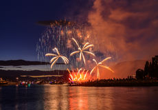 Salute, beautiful fireworks. Beautiful fireworks at English Bay Beach at night in Vancouver Canada Stock Photography