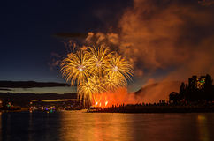 Salute, beautiful fireworks. Beautiful fireworks at English Bay Beach at night in Vancouver Canada Stock Images