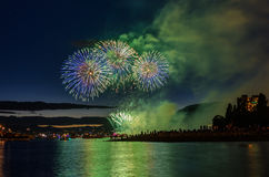 Salute, beautiful fireworks. Beautiful fireworks at English Bay Beach at night in Vancouver Canada Royalty Free Stock Photos