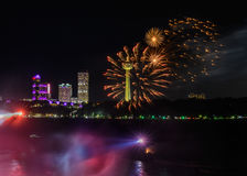 Salute, beautiful fireworks. Beautiful fireworks at night in Niagara falls Stock Photos